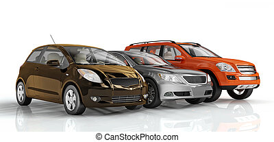 Cars - 3D cars isolated on white background. Exellent...
