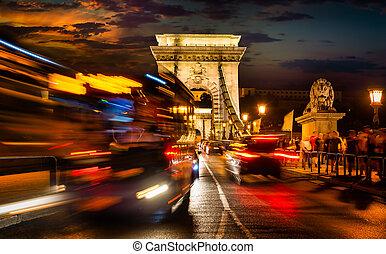 Chain bridge in Budapest at beautiful sunset, Hungary
