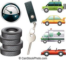 Cars and parts - Set of cars and car parts