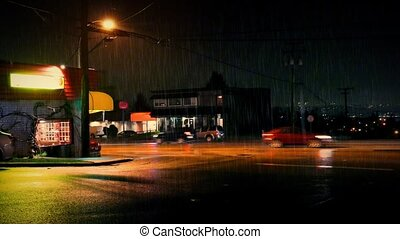 Cars And People Pass Restaurants - Cars in the rain and a...