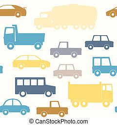 Cars and trucks seamless pattern