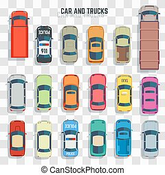 Cars and trucks top view