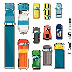Cars and trucks top view set