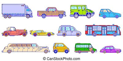 Cars and vehicles, line vector illustration, modern and retro style auto transport isolated on white, line art style.