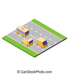 Cars are driving on the asphalt road, isometric style, traffic concept, vector illustration