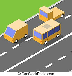 Cars are driving on the asphalt road, isometric style, traffic concept, vector