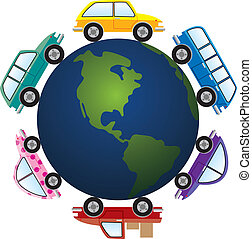 cars around earth  - vector cars around earth globe