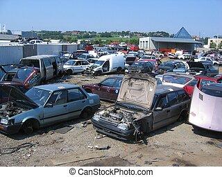 Cars at a scrapyard