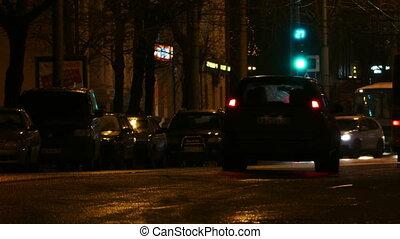 Cars At Night City Street