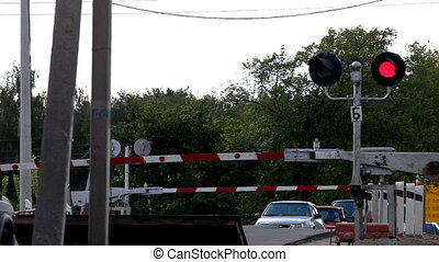 Cars at rail road cross