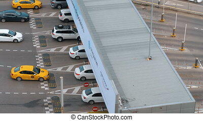 Cars at Sheremetyevo Airport driveway - MOSCOW, RUSSIA -...
