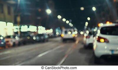cars at traffic lights. light blur