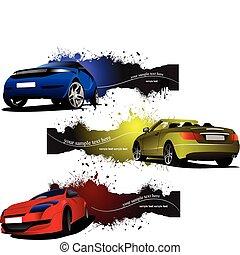 cars., banieren, grunge, ve, drie