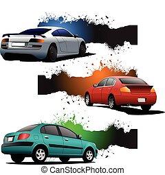 cars., banner, grunge, drei, re
