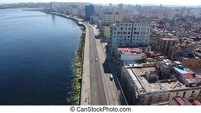 Cars Caribbean Sea Cuban Traffic Havana Cuba Aerial View -...