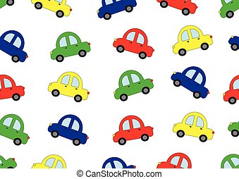 Cars cartoon in four colors background, seamless pattern, vector illustration.