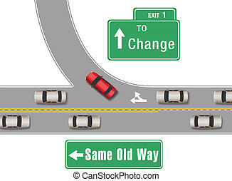 Cars change old for new way - Car turning from busy traffic...