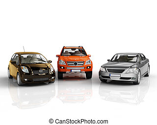 cars - three 3d cars rendered on white background