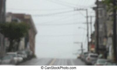 cars coming down San Francisco hill