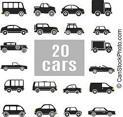 cars., conjunto, iconos