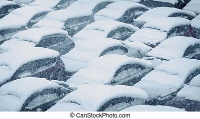 Cars Covered In Snow In Blizzard
