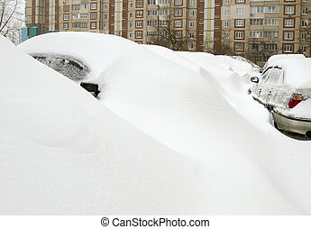 Cars Covered with Snow - Snowy cars trapped in snowdrift, ...