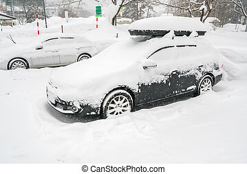 Cars covered with white snow in winter .