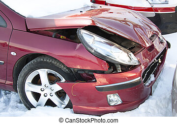 Cars crush - Red car in winter crushed. Damage front of ...