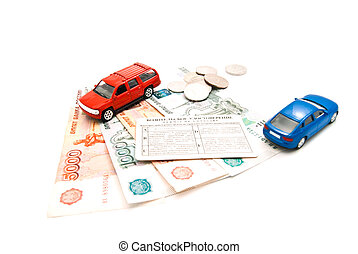 cars, driving license and money