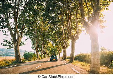 Cars driving on a country road lined with trees. Bright sunlight at sunset in the evening in France