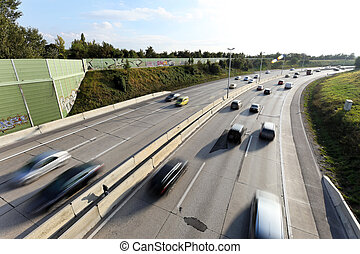 cars driving on a highway