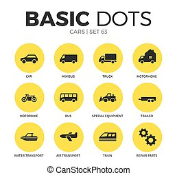 Cars flat icons vector set