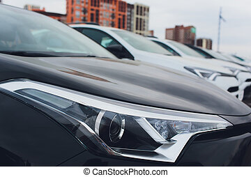 Cars For Sale Stock Lot Row. Car Dealer Inventory.