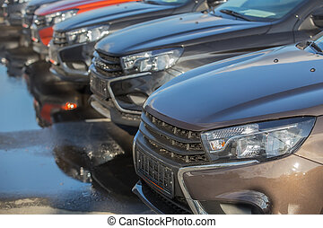 Cars For Sale Stock Lot Row.