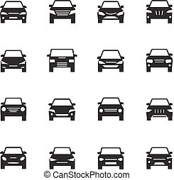 Cars front view signs. Vehicle black silhouette vector icons isolated on white background