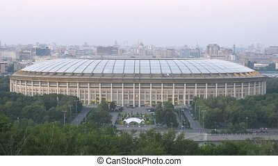 Cars go near to a sports Complex Luzniki - MOSCOW - AUGUST...