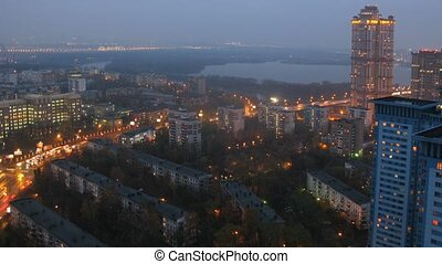 Cars go on highway in district of Moscow - Shchukino in evening
