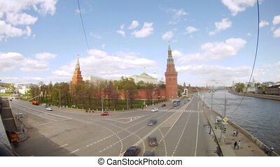 Cars go on Kremlevskaya Embankment near Kremlin wall, time lapse