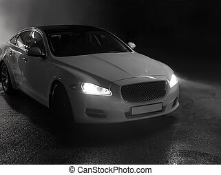 cars go on the night city - modern cars go on the night city