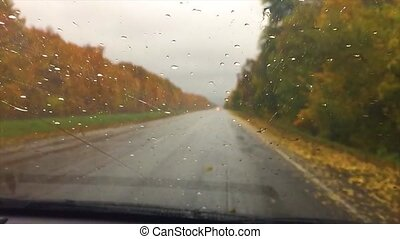 cars go on the road asphalt travel. autumn beautiful view forest, raindrops on the glass car blurred background slow motion video