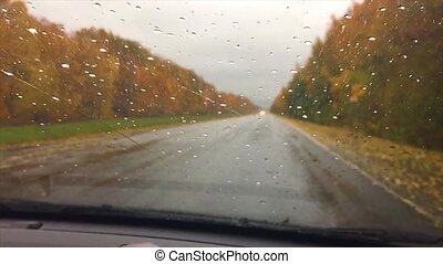 cars go on the road asphalt. travel autumn beautiful view forest, raindrops on the glass car blurred background slow motion video