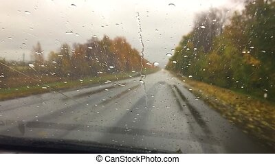 cars go on the road travel asphalt. autumn beautiful view forest, raindrops on the glass car blurred background slow motion video