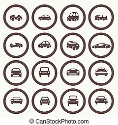 Cars icons set 1. 30 different vector car forms