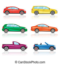 Cars icons set. 6 different colorful 3d sports car icon.
