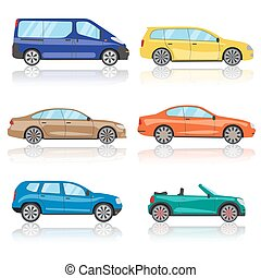 Cars icons set. 6 different colorful 3d sports car icon. Car vector