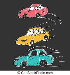Cars, icons set. Transport, transportation, vehicle concept. Vector illustration