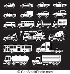 Cars icons set. Vector illustration
