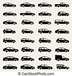 cars icons vector set on gray background