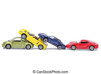 Cars in a chain crash