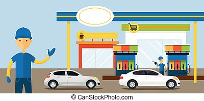 Cars in Gas Station and Service Attendant Illustration -...